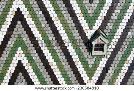 The tiled roof of St Stephen's Cathedral in Vienna, Austria - stock photo
