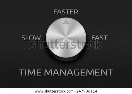 The time management handle on the metal plate - stock photo