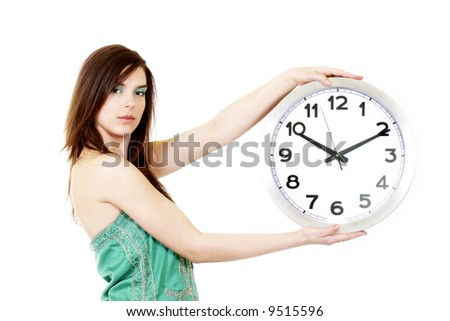 The Time of the work. The woman with the clock. White background.