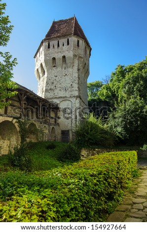 The Tin Coaters Tower from the Sighisoara citadel located in the heart of Transylvania,Romania.The tower has a very complex and strange shape and its walls are riddled with bullets and cannon balls.