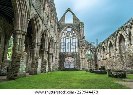 The Tintern Abbey church, first Cistercian foundation in Wales, dating back to a.d. 1131 - stock photo