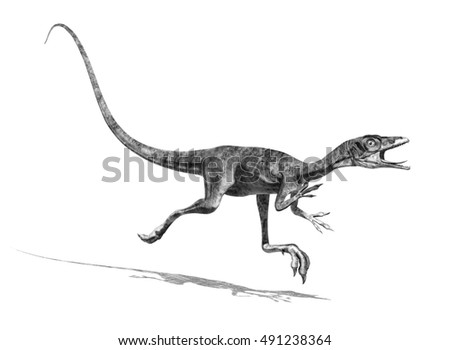 The tiny Compsognathus dinosaur is on the run - 3d render, special shaders were used to create the appearance of a pencil drawing.
