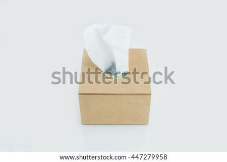 The Tissue On a white background
