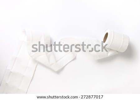 The Tissue or toilet paper on white background