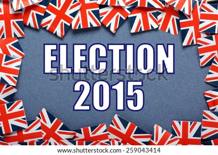 The title Election 2015 on a blue background with a border of Union Jacks, the flag of the United Kingdom - stock photo