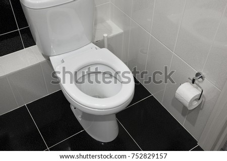 The toilet in the bathroom