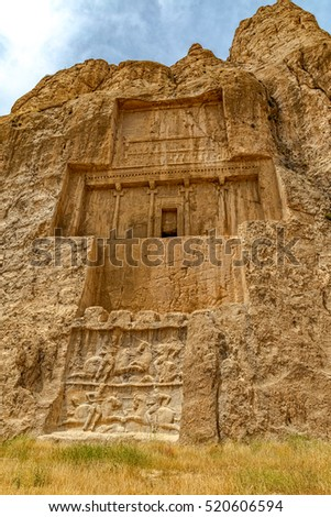 The tomb of Darius the Great at Naqsh-e Rustam an ancient necropolis located about 12 kilometres of Persepolis, Iran.