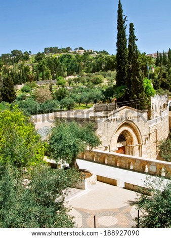 The Tomb of Mary. This is regarded to be the burial place of Mary, Mother of Jesus. Jerusalem, Israel. - stock photo