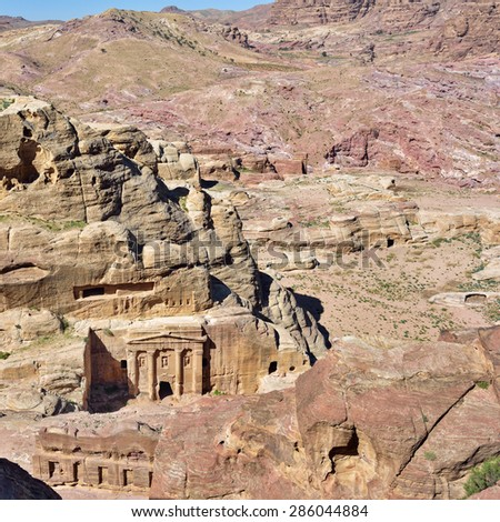 The Tomb of Roman Soldier. Petra archeological site - UNESCO world heritage site and one of The New 7 Wonders of the World. Jordan - stock photo