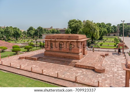 The Tomb of the national poet of Pakistan, Allama Muhammad Iqbal near Badshahi Mosque and Lahore Fort, Lahore, Punjab, Pakistan on 27th August 2017