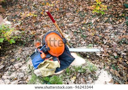 the tools of the lumberjack - stock photo