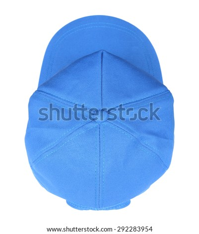 The top blue baseball cap isolated on a white background - stock photo