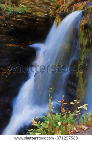 The top of beautiful Fulmer Falls in Autumn, located in the Poconos of Pennsylvania turned into a colorful painting. Fulmer Falls is located in the George W Childs State Park.  - stock photo
