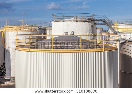 The top of big tanks farm for refinery industry. - stock photo