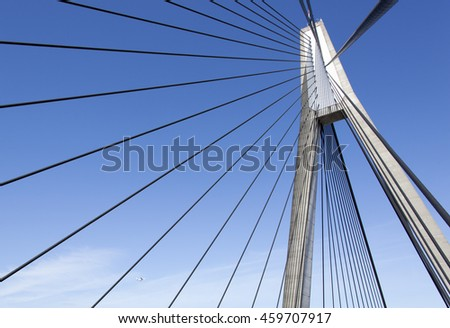 The top of cable-stayed Anzac Bridge in Sydney (New South Wales, Australia).