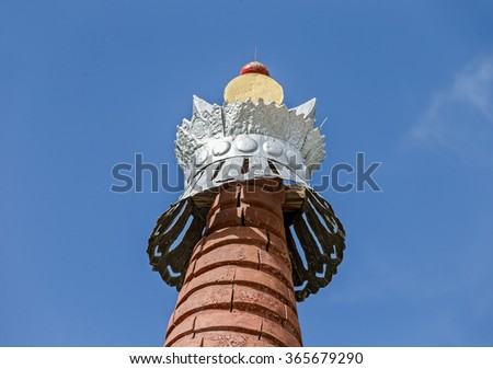 The top of the Buddhist stupas in the Leh - Tibet, Leh district, Ladakh, Himalayas, Jammu and Kashmir, Northern India - stock photo