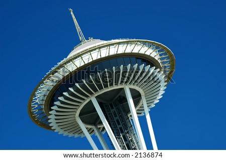 The top of the Space Needle in Seattle, Washington State - stock photo