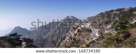 the top plateau of mount taishan shandong province china - stock photo