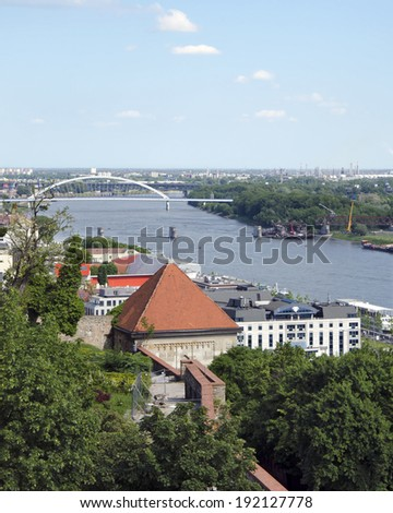 The top view from Bratislava castle of Danube with Most Apollo bridge with missing, dismantled Stary most bridge. - stock photo