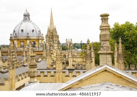 The top view of around Oxford university. Photos are taken on 20 September 2016, Oxford, England.