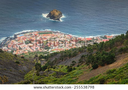 The top view of the city, Tenerife, Canary Islands/ City on the coast - stock photo