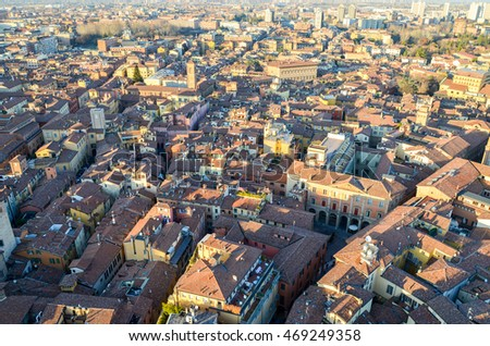 The top view of the red roofs of the old Bologna city, Emilia Romagna Region, Italy. February 26, 2016