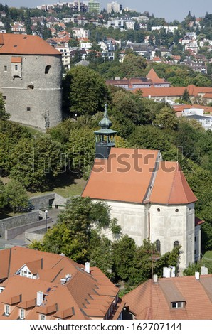 The top view of the st. Nicholas church under Bratislava castle, Slovakia. - stock photo