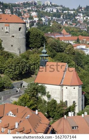The top view of the st. Nicholas church under Bratislava castle, Slovakia. - stock photo