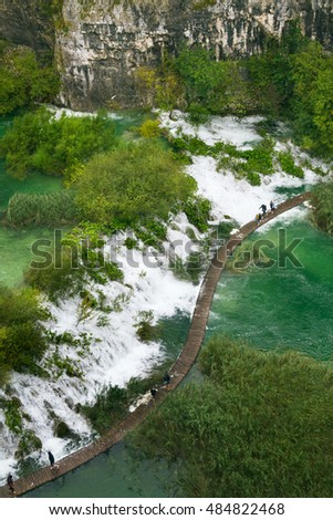 The top view on a site of  Plitvice Lakes national park during flooding after a heavy rain, Croatia