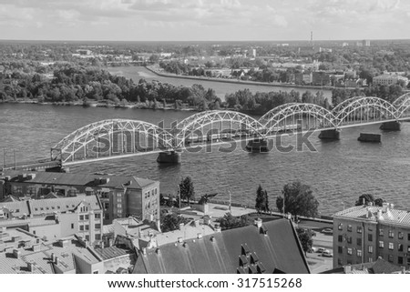 The top white and black view of Riga - stock photo