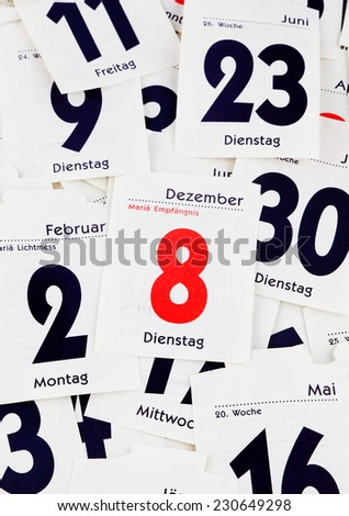 the torn-off days of a calendar. past the end. - stock photo