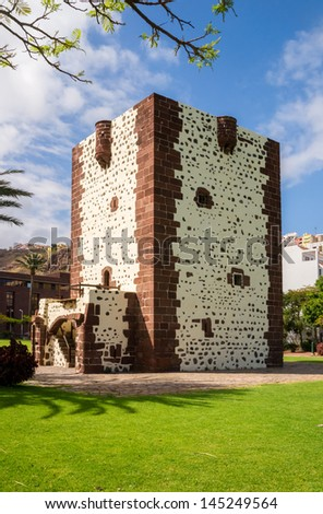 The Torre del Conde, the tower of the earl, is the only medieval fortification at the island of La Gomera. - stock photo