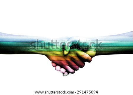 The touch of the hand shows the love, trust and confidence. Rainbow flag is a symbol of lesbian, gay, bisexual, and transgender hands touching each other to show their love.isolate on white - stock photo