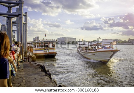 the Tourism and travel in Bangkok by the Chao Phraya Express Boat.