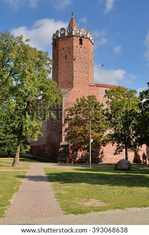 The tower at the castle in Leczyca, Poland