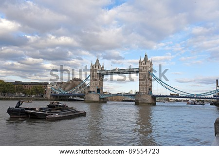 the tower bridge in London on River Thames - stock photo
