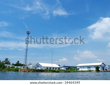 the tower in belawan port - stock photo