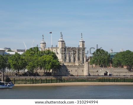 The Tower of London seen from River Thames in London, UK