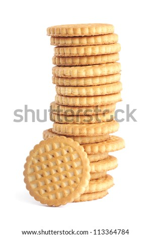 The tower of the round biscuits . - stock photo