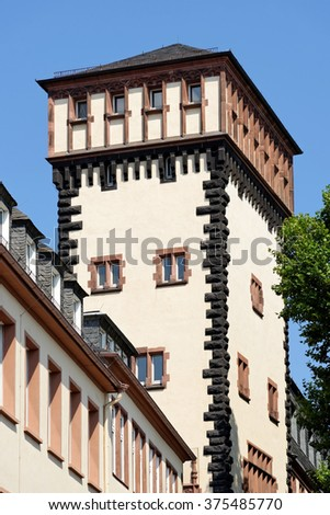 The tower of the south wing of the Old Town Hall on Limpurgergasse street in Frankfurt am Main, Germany. The entire building complex consists of nine houses, encircling six courtyards.