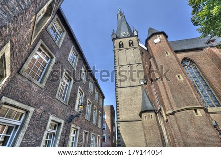 The tower of the St Lambertus church in Dusseldorf, Germany - stock photo