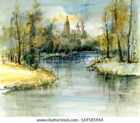 The towers above the confluence, watercolor illustrations - stock photo