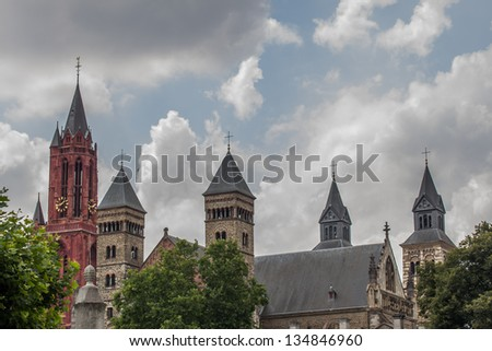 The towers of a famous church in the Netherlands. - stock photo