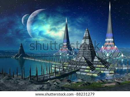 The Towers of Gremor, fantasy scene on an alien planet, ancient place with towers, walls and water, 2 moons in the background - stock photo