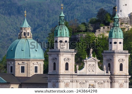 The Towers of the Baroque Salzburg Cathedral in Austria - stock photo
