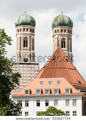 The towers of the Frauenkirche in Munich - stock photo
