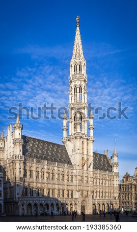 The Town Hall of Brussels in the Grand Place - stock photo