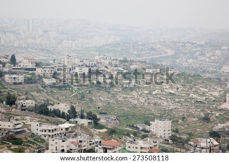 The town of Bethlehem, Israel in the Middle East, CIRCA February 2015 - stock photo