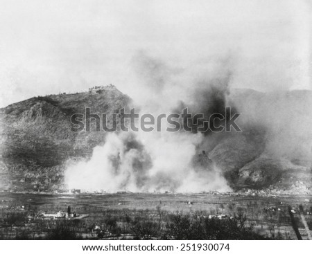 The town of Cassino was completely destroyed in one of WW2's most concentrated air bombings. The Monte Cassino Abbey was bombed in the same operation. Feb. 15, 1944. World War 2. - stock photo