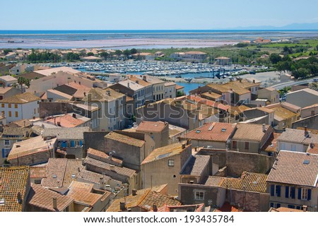 The town of Gruissan, on the Mediterranean coast, near Narbonne, Aude Departement of France - stock photo